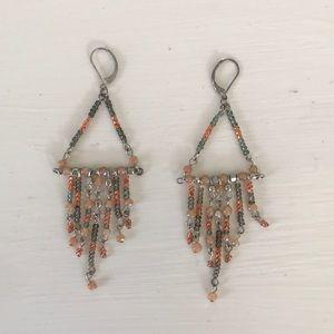 Triangle and Fringe Beaded Earrings